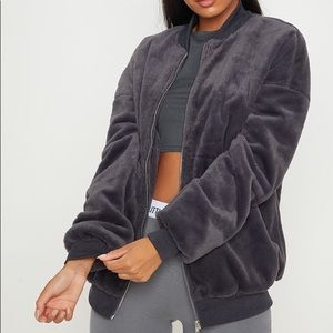 Faux Fur Charcoal Bomber